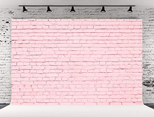 Pink Brick - Kate 7x5ft Seamless Photo Backdrops Pink Brick Wall Photography Background Newborn Studio Booth Prop(with Pocket)