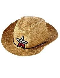 Stylish Children Kids Western Cowboy Straw Sun Hat Wind-Proof Cap Summer Big Wide Brim Sunbonnet with Star Decoration
