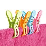 Plastic Strong Beach Towel Clips Hanging Holders Hooks in Bright Assorted Colors Keep Towel from Blowing Away Pack of 6