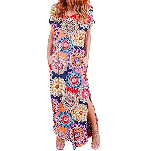 BODOAO Women's Short Sleeve Maxi Dresses Boho Casual Loose Long Dress with Pocket