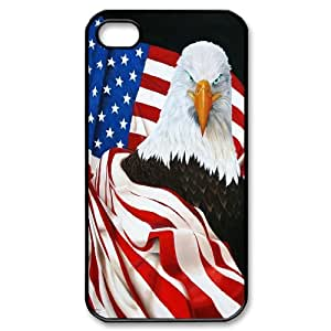James-Bagg Phone case Bald Eagle On US Flags Protective Case For Iphone 4 4S case cover Style-7