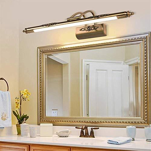 Mirror Light Bathroom Adjustable Angle Vintage Classic Carved Acrylic Wrought Iron Plating Copper Led Wall Light for Vanity Make up Picture Display Dresser Wall Lighting (Warm White Light),64Cm ()