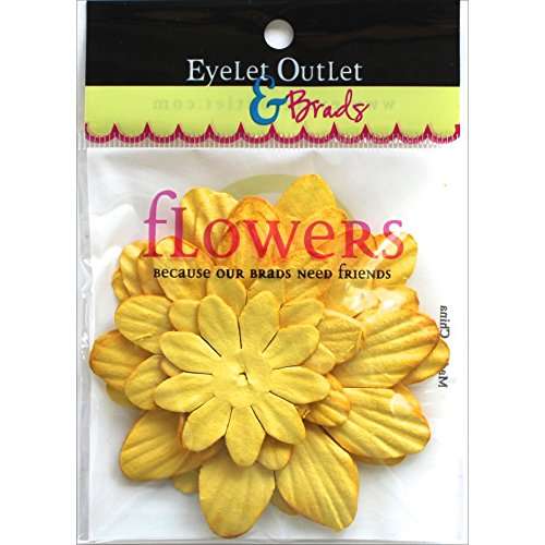 Eyelet Outlet FLW-F9A Flowers 40/Pkg-Yellow by EYELET OUTLET (Image #1)