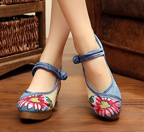 ezshe Multicolor Lotus bordado Mary Jane Cuñas Sandalias Zapatos Azul