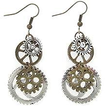 """Best Wing Jewelry Antique-Bronze-Tone """"Gear"""" Earrings"""