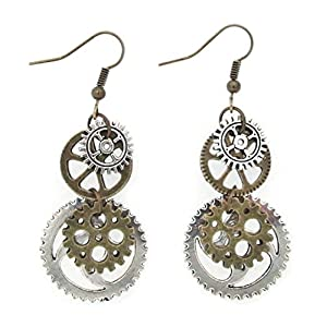 SKYPIA Antique-Bronze-Tone Gear Earrings