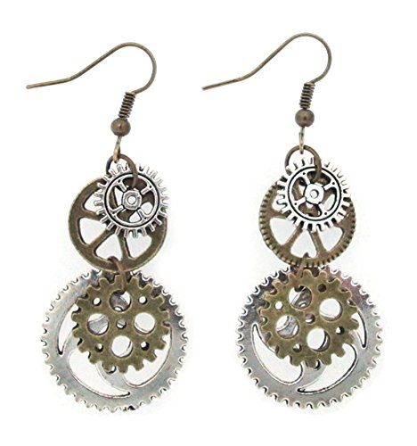 SKYPIA Antique-Bronze-Tone Gear Earrings 3
