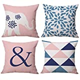 Throw Pillow Covers 18 x 18 Inch, BLUETTEK Cotton Linen Abstract Geometric Decor Pillow Cases, Set of 4 (Pink)