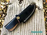 Isaazon 8.5″ Handmade Real Leather Sheath Hunting Blade Knife Double Stitched Engraved/Belt Loop