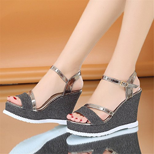 Moda Black Corbatas Zapatos Pescado Boca Pu Sandalias Mujer Fondo ladies' Cruz Cara Tacones Alto Tacon Mujer Tacones Verano De Verano Y Sandalias Moda AA7qBwRx