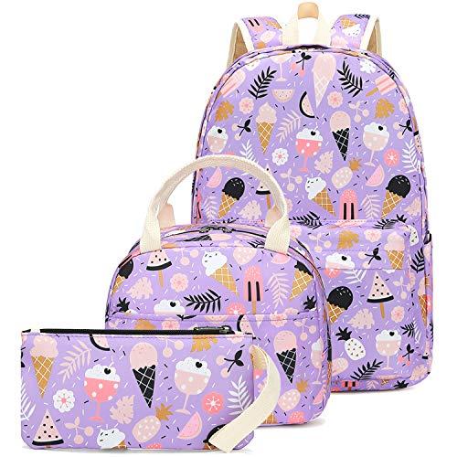 CAMTOP School Backpack for Girls Teens Bookbag Set Cute Student Backpack 3 In 1, School Bags + Lunch Box + Pencil Case (Purple-Ice Cream)