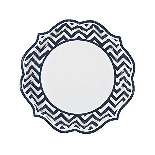 Navy Blue Chevron Scalloped Dinner Plates -