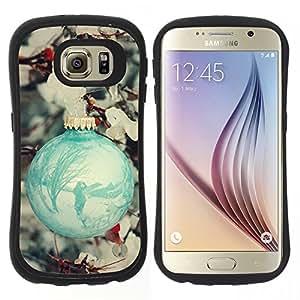 """Hypernova Slim Fit Dual Barniz Protector Caso Case Funda Para Samsung Galaxy S6 [Bola Decoración trullo nieve del invierno""""]"""
