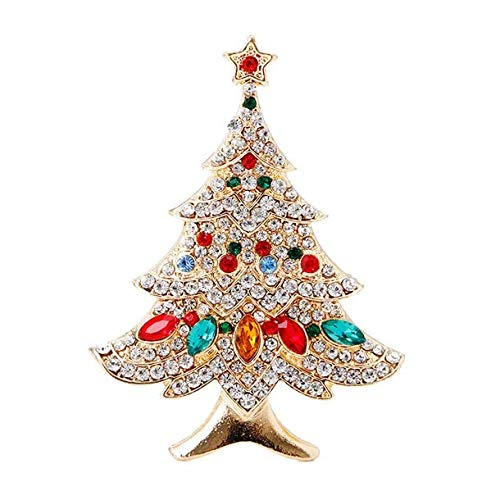 SCASTOE Vintage Colored Christmas Tree Rhinestone Brooch Pin Wedding Party Jewelry