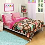 Girl Pink Brown Owl Floral Flower Twin/Full Comforter