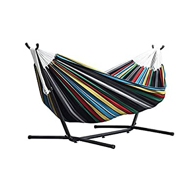 Vivere Double Hammock with Space Saving Steel Stand, Denim - Vivere double hammock holds two people Cotton fabric for indoor or outdoor comfort Included 9-foot steel stand holds up to 450 pounds - patio-furniture, patio, hammocks - 51ujOiAv2tL. SS400  -