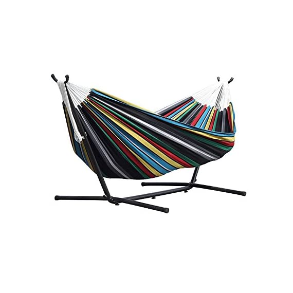 Vivere Double Hammock with Space Saving Steel Stand, Denim - Vivere double hammock holds two people Cotton fabric for indoor or outdoor comfort Included 9-foot steel stand holds up to 450 pounds - patio-furniture, patio, hammocks - 51ujOiAv2tL. SS570  -