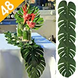 elegant party themes AerWo 48pcs Large Artificial Tropical Palm Leaves, 13.8 by 11.4inch, Hawaiian Luau Party Jungle Beach Theme Decorations for Table Decoration Accessories