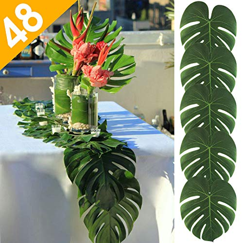AerWo 48pcs Large Artificial Tropical Palm Leaves, 13.8 by 11.4inch, Hawaiian Luau Party Jungle Beach Theme Decorations for Table Decoration - Leaves Runner Table