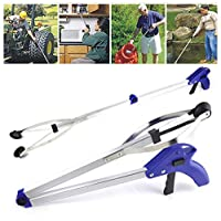 Folding Compact Helping Hand Long Reach Pick Up Grabber, Aluminum Reaching Aid for Yard, Home, Office, Disabled or Elderly Easy Portable Convenient,Trash with Ergonomic Handle(Blue)