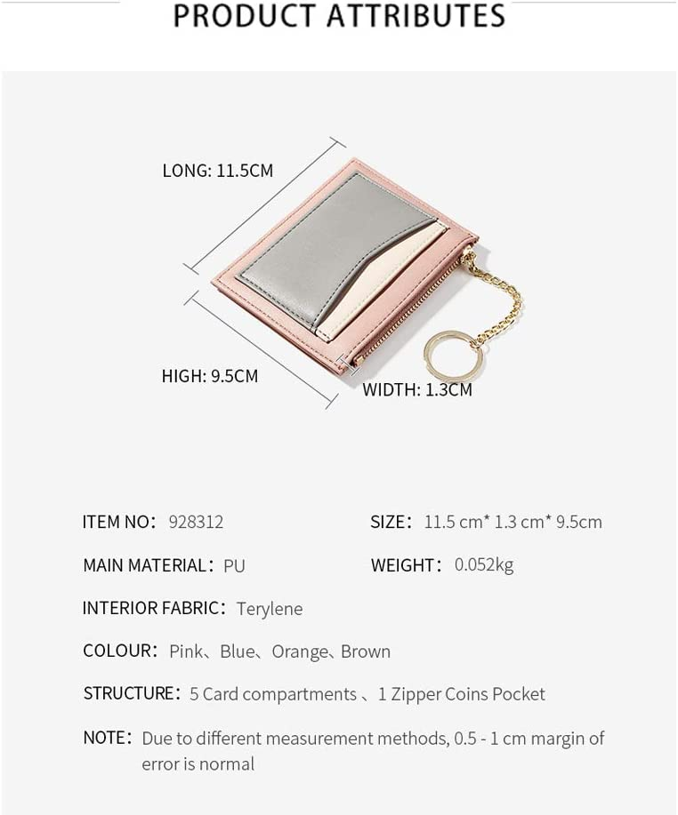 ZhaoCo Girls Wallet Purse PU Leather Mini Coin Purse Card Case Holder Zipper Pouch Wallet with Key Ring for Women Ladies Blue