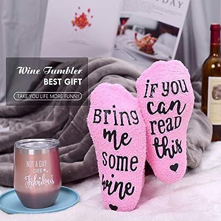 Vaso de vino + divertidos calcetines de vino para magdalenas, acero inoxidable, aislamiento, copa de vino sin tallo, el mejor regalo de cumpleaños para mujeres, compañeros de trabajo, amigos