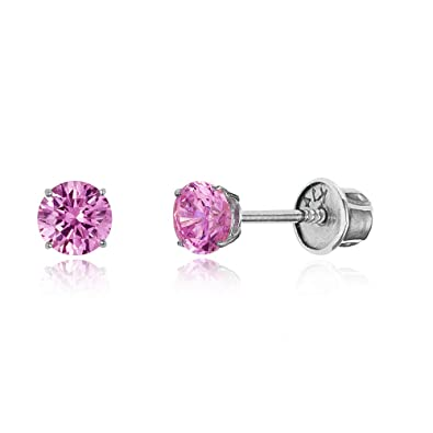 5ac6679ea 14k White Gold 3mm October Round Basket Cubic Zirconia Children Screwback  Baby Girls Earrings