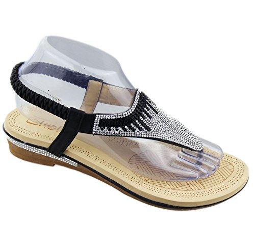 Womens Flat Sandals Ladies Diamante Summer Wedding Toe Post Soft Slipper Black pdb1n