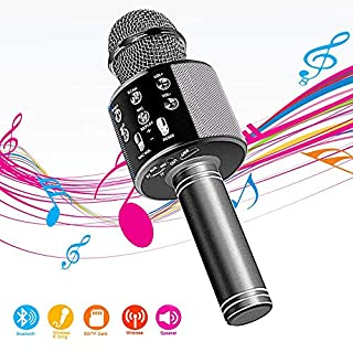 Wireless Bluetooth Karaoke Microphone,4 in 1 Portable Handheld Mic Speaker for Company Meeting Kids Home KTV Party,Compatible with Android & iOS,Perfect Birthday & Christmas Gift(Black)