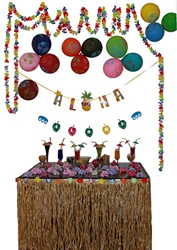 Hawaiian Party Decorations with aloha sign banner luau photo booth props and more -