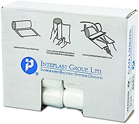 Inteplast Group IBS S242406N 24 Length 6 Micron Thickness 7-10 Gallon Natural Color High-Density Commercial Coreless Roll Can Liner 24 Width