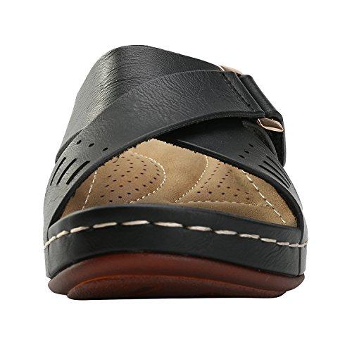 Alexis Leroy Comfortable Insole Buckle Strap Vamp Women's Wedge Sandals Black lDd2cM7