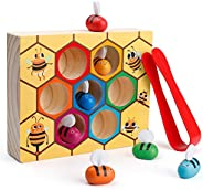 Coogam Toddler Fine Motor Skill Toy, Clamp Bee to Hive Matching Game, Montessori Wooden Color Sorting Puzzle,