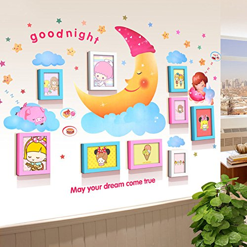 TIANTA- Children's Room Kindergarten Combination Solid Wood Photo Frame Creative Group Simple Modern Baby Photo Wall Frame (painted Core Random Distribution) adorn ( Color : #3 )