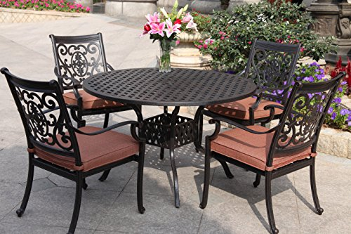 Darlee St. Cruz Cast Aluminum 5-Piece Dining Set with Seat Cushions and 48-Inch Round Dining Table, Antique Bronze Finish ()