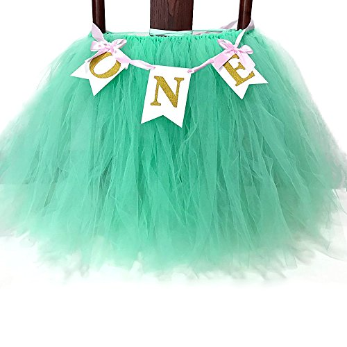Festivous Wishel 23x35 1st Birthday Baby Tutu for High Chair Decoration for 1st Birthday Party Supplies (Mint Green) ()