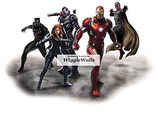 7 Inch Team Stark Black Panther Vision War Machine Black Widow Iron Man Captain America Civil War Marvel Avengers Comics Removable Wall Decal Sticker Art Home Decor 7 1/2 x 5 inches