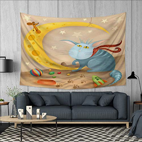 Anhuthree Kids Wall Tapestry Cat and Mouse on Crescent Moon