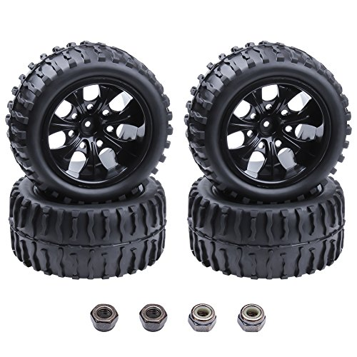 (4-Pack) HobbyPark RC Tires and Wheels Rims Sets Foam Inserts 12mm Hex For 1/10 Scale Redcat Racing Volcano EPX (Pro) Electric Truck