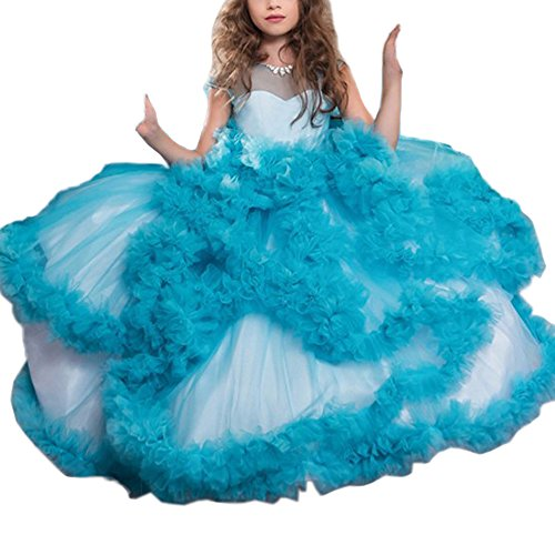 Stunning V-Back Luxury Pageant Tulle Ball Gowns for Girls 2-12 Year Old Blue,Size -
