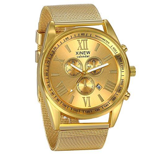 JewelryWe Luxury Men's 3 Eyes Calendar Watch Stainless Steel Mesh Band Quartz Wrist Watches Gold