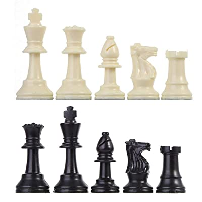 Plastic Chessmen Set International Chess Game Complete Chessmen Set-Perfect Beginner Chess Set for Kids Adults Black&White (M (king high 64 mm)): Home Improvement