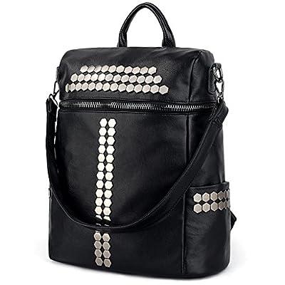 UTO Women Backpack Purse 3 ways Rivet Studded PU Washed Leather Ladies Rucksack Shoulder Bag Black