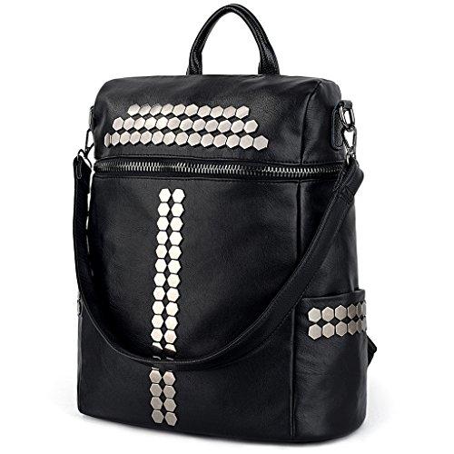 UTO Women Backpack Purse 3 ways Rivet Studded PU Washed Leather Ladies Rucksack Shoulder Bag Black by UTO