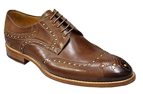 DOGEN Men's Genuine Calfskin Italian Oxford Dress Shoes i700/978 - Made in Italy, Brown, 13 M