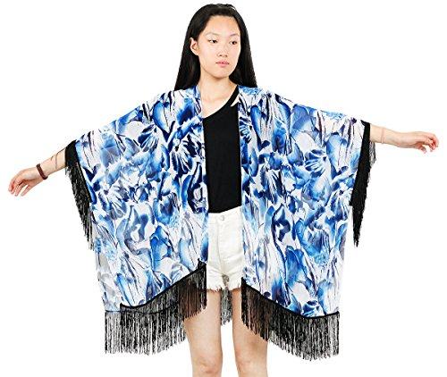 Mexican Blue Palm (NISHAER Women's Palm Leaf Chiffon Fringed Tassel Dress Kimono Jackets)