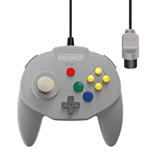 Retro-Bit Tribute 64 Wired N64 Controller for Nintendo 64 - Original Port - (Classic Grey)