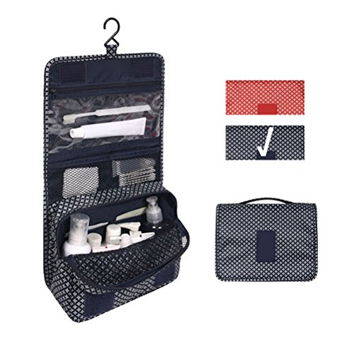 Travel Portable Organizer Cosmetic Bag, Jewelvwatchro Portable Hanging Toiletry Bag for Women or Men for vacation (Blue Star)
