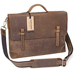 Jack&Chris®Leather Men\'s Brown Business Bag Messenger Shouler Bag,N3122