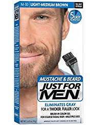 Just For Men Mustache & Beard, Light-Medium Brown (Pack of 3, Packaging May Vary)